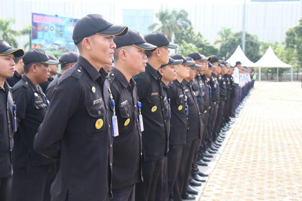 upacara bulanan Satpam PTP