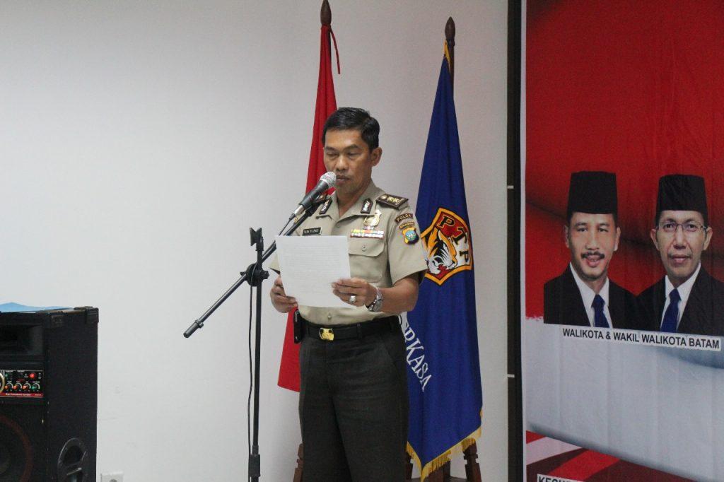 Kata Sambutan dari AKBP Rudy dalam pembukaan Pelatihan Satpam Gada Pratama Disnaker Kota Batam