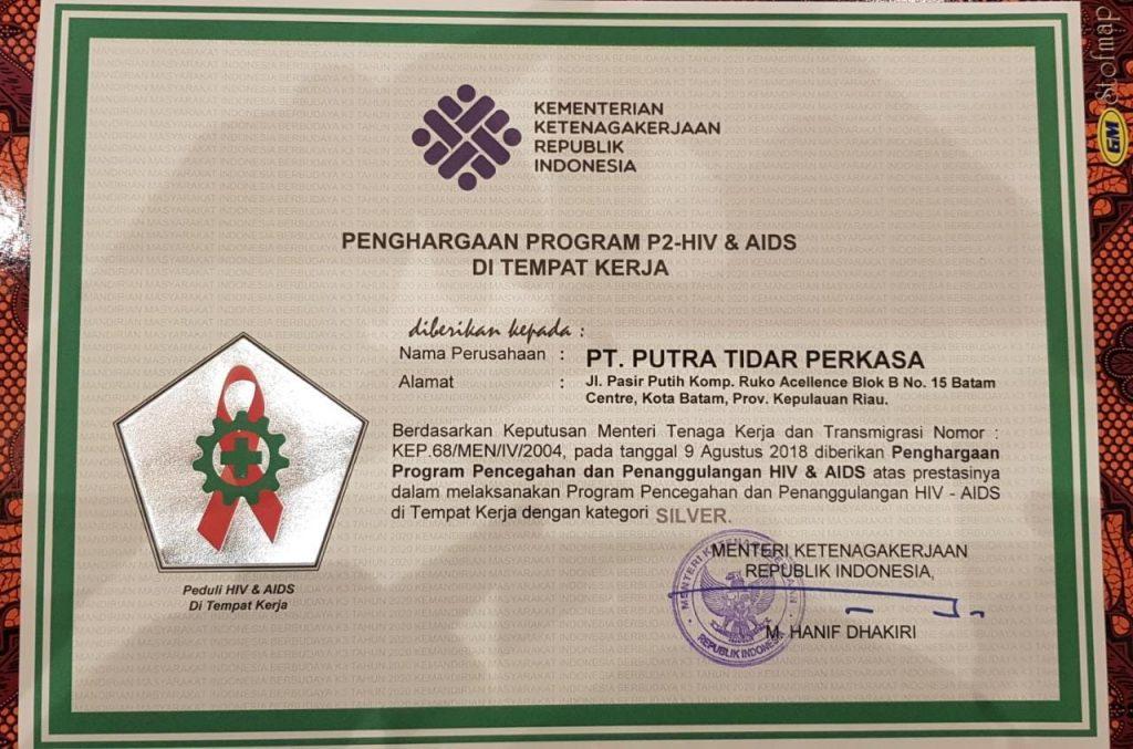 Penghargaan P2-HIV dan AIDS di Tempat Kerja