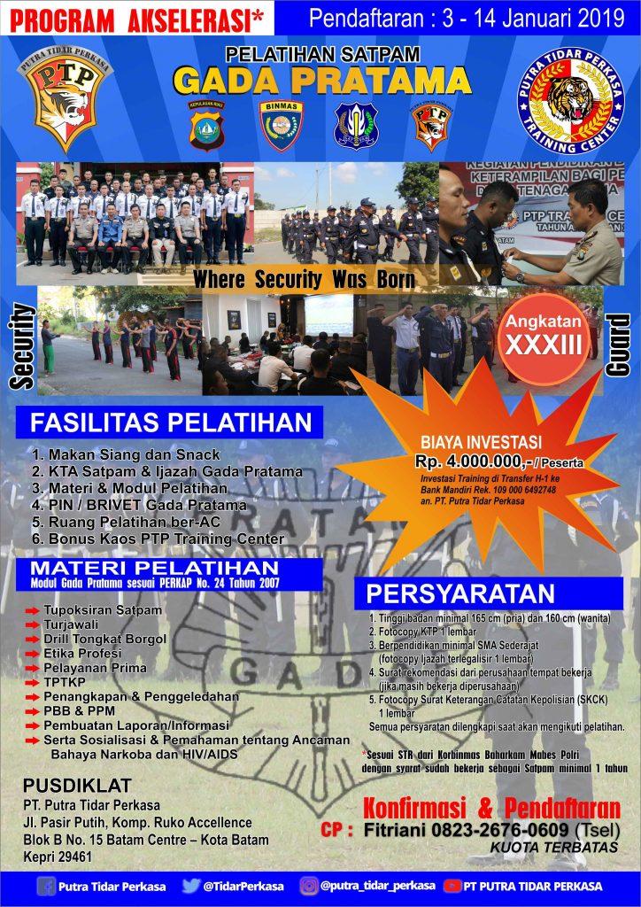 Brosur Gada Pratama angkatan XXXIII - 15 - 17 Jan 2019
