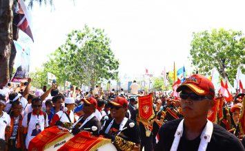 Jasa Pengamanan Event - Drumband Canka Putra Perkasa sambut Prabowo Menyapa Masyarakat Kepri