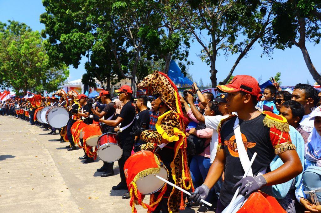 Jasa Sekuriti di Batam - Drumband Satpam buka jalan event Prabowo Menyapa Masyarakat Kepri