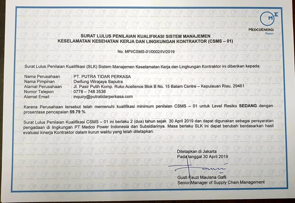 Rekomendasi Vendor Medco Power Indonesia untuk Putra Tidar Perkasa