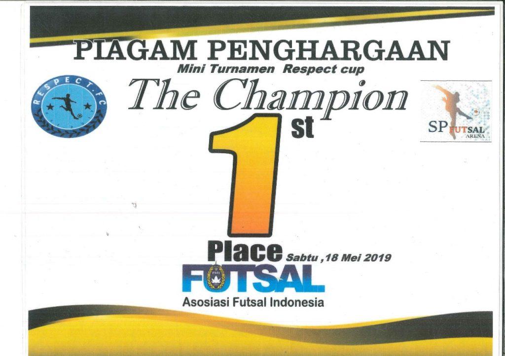Sertifikat Penghargaan Macan Tidar FC - Mini Turnamen Respect Cup