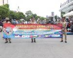 Kirab Kota Kadet Drumband Gita Jala Taruna dengan Drumband Satpam Canka Putra Perkasa dalam rangka Kartika Jala Krida 2019