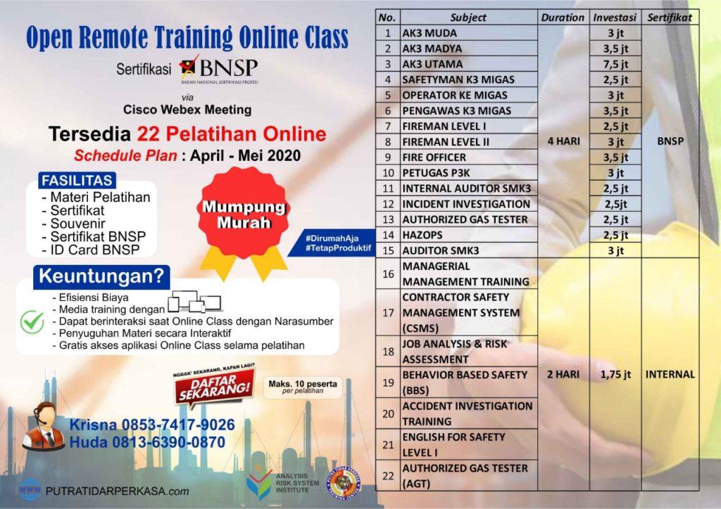 Online Training sertifikasi BNSP