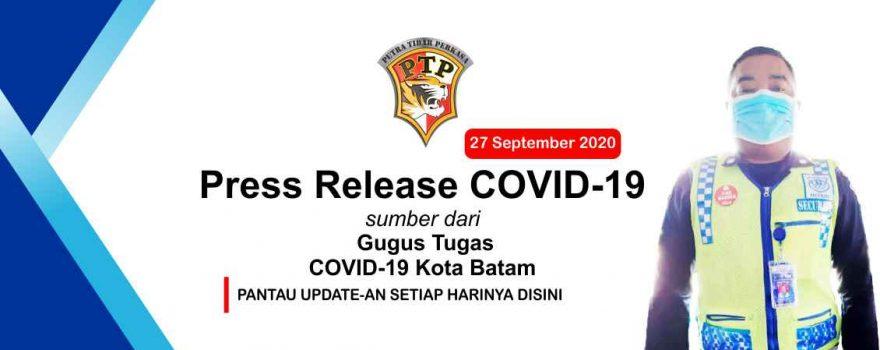Press Release Gugus Tugas COVID-19 Kota Batam - 27 September 2020