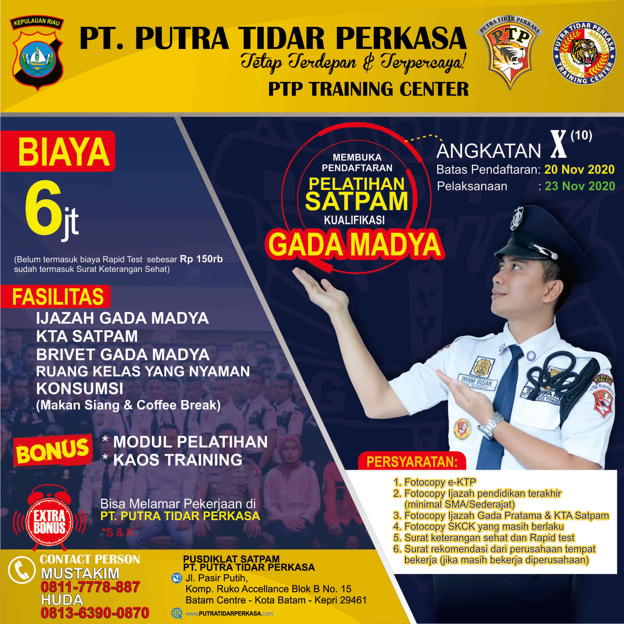 Pelatihan Gada Madya 2020 angkatan X - Putra Tidar Perkasa - 23 Nov 2020