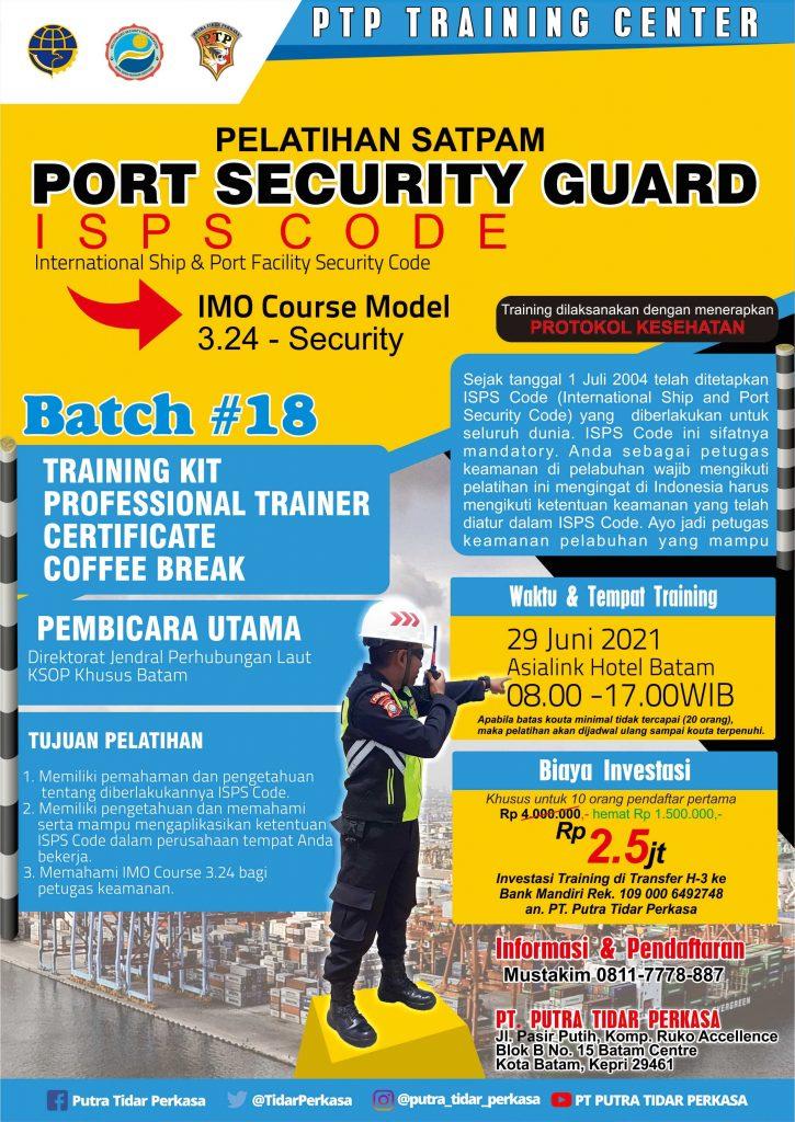 ISPS Code Training - Port Security Guard - 29 Juni 2021 - Batch #18