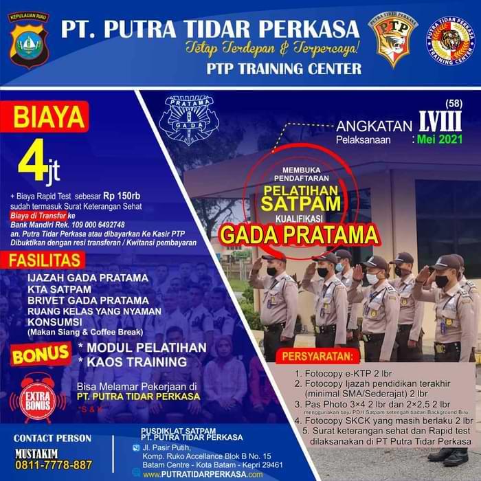 Pelatihan Satpam Gada Pratama LVIII - Batam - PTP Training Center